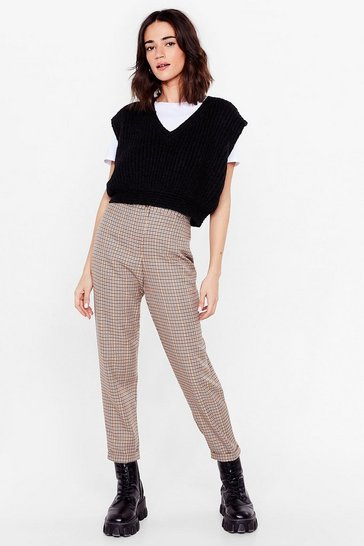Beige All Checks Are Off Petite High-Waisted Pants
