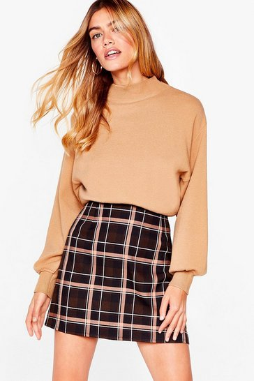 Brown Gimme One Check Petite Mini Skirt