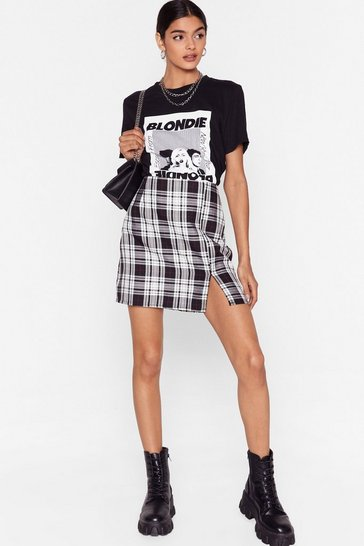 White Petite Check Mini Skirt with Split
