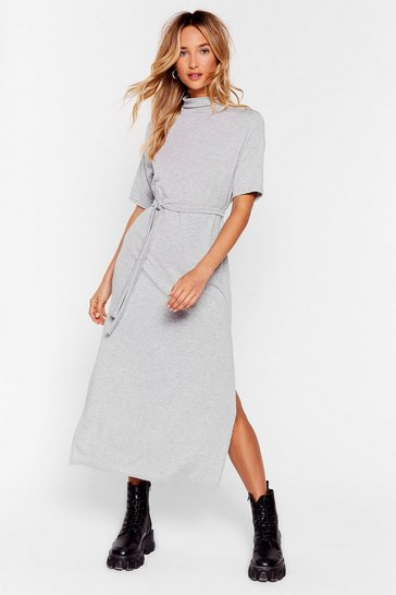Grey Petite Belted Tee Midi Dress