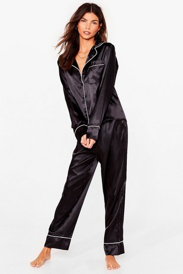 Black Straight to Sleek Satin Shirt and Pants Pajama Set