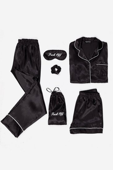 Black Fuck Off Please 6-Pc Pajama Shorts Set