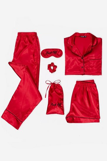 Red Fuck Off Please 6-Pc Pajama Shorts Set