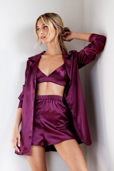 Plum Oversized Satin 3pc Long Sleeve Shirt PJ Set