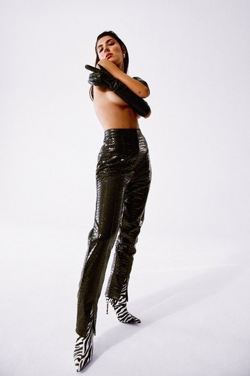 Black Croc Our World Faux Leather Slit Pants