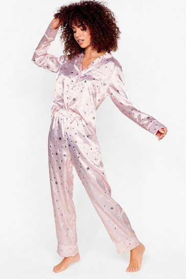 Pink Sing Me a Lullaby Satin Shirt and Shorts Pyjama Set