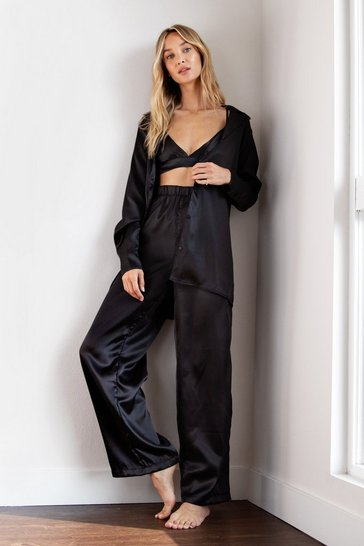 Black Satin 3 Pc Oversized Pajama Shirt and Pants Set