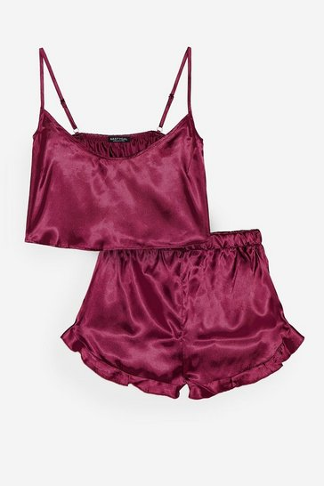 Wine Energy Saving Mode Satin Pajama Shorts Set