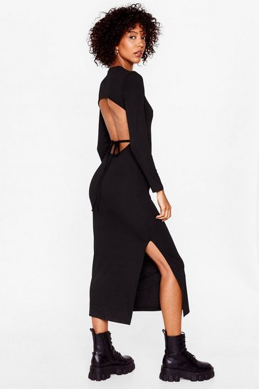 Black Long Sleeve Backless Tie Midi Dress