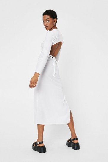 Off white Open Back Tie Fitted Midi Dress
