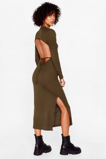 Olive Snap Open Back to Reality Tie Midi Dress