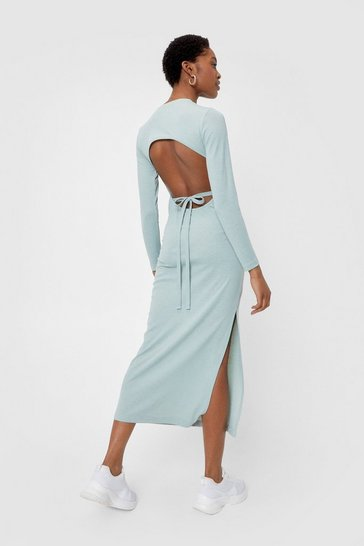 Sage Open Back Tie Fitted Midi Dress