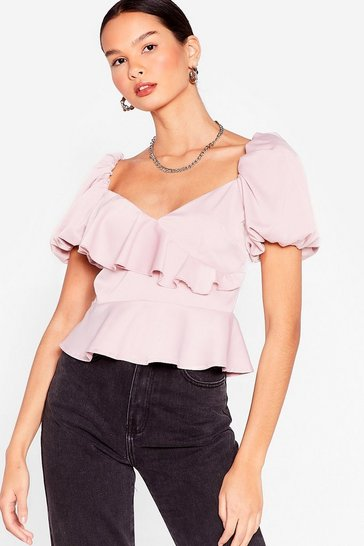Mauve It's a Puff Call Satin Wrap Blouse