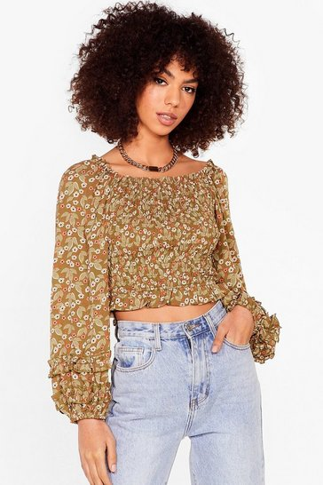 Green Floral Shirred Off the Shoulder Blouse