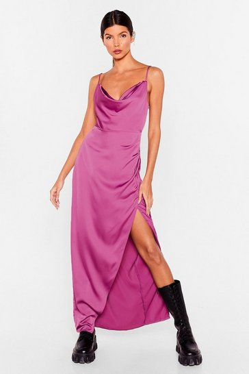 Plum Lemme Cowl You Back Satin Maxi Dress