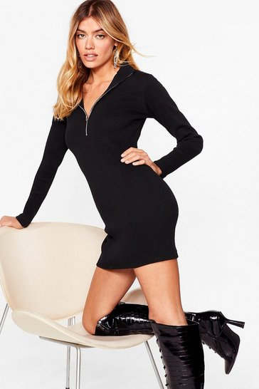 Black Collar Out My Name Zip Mini Dress