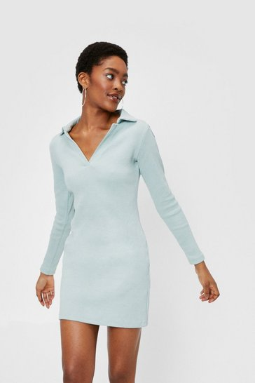 Sage Ribbed V Neck Collar Mini Dress