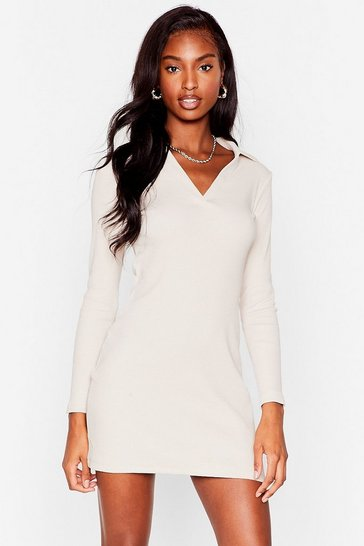 Stone Ribbed Long Sleeve Collared Mini Dress