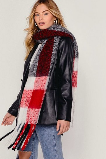 Red Grid You Miss Me Check Faux Wool Scarf