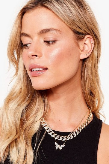 Gold You're So Fly Layered Chain Necklace