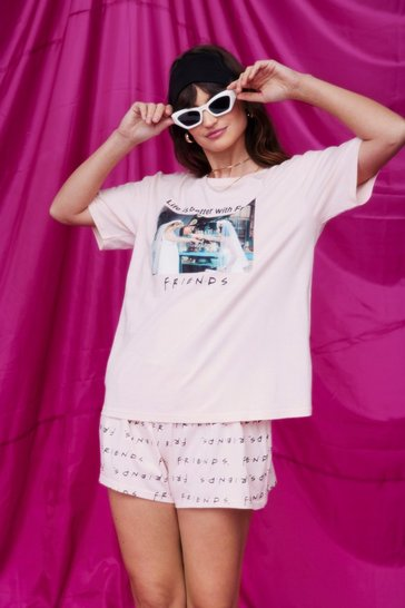 Pink Better With Friends Graphic Shorts Pajama Set