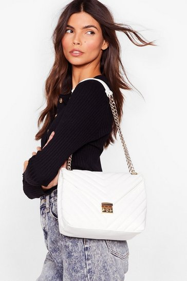 White WANT Quilt Trippin' Faux Leather Shoulder Bag