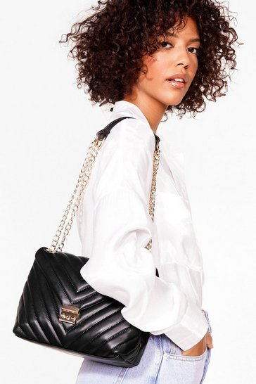Black WANT Quilt Messin' Faux Leather Shoulder Bag