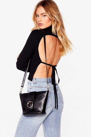 Black WANT Join Our Circle Buckle Crossbody Bag
