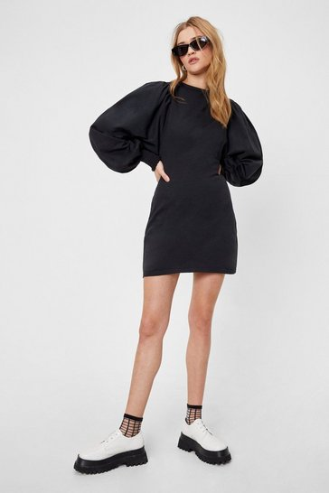 Black Puff Sleeve Shirred Cuff Mini Dress