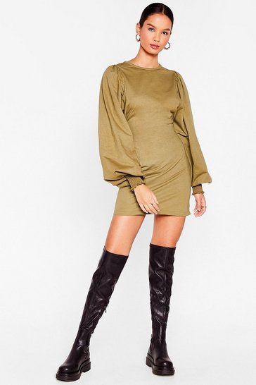 Olive Puff Sleeve Shirred Cuff Mini Dress