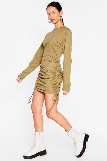 Olive Ruched Mini Sweatshirt Dress