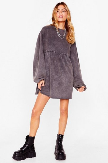 Black Wash Out for 'Em Puff Sleeve Sweatshirt Dress