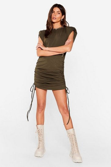 Olive We're Cuttin' Ties Shoulder Pad Mini Dress