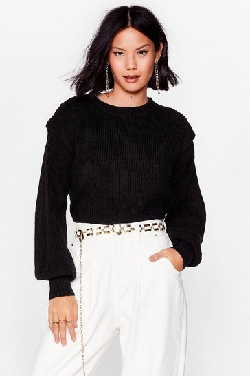 Black You're a Shoulder Pad Influence Knitted Sweater