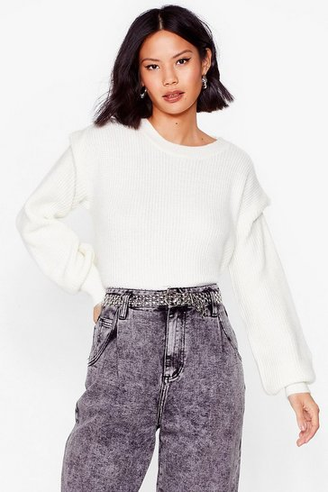 Ivory You're a Shoulder Pad Influence Knitted Jumper