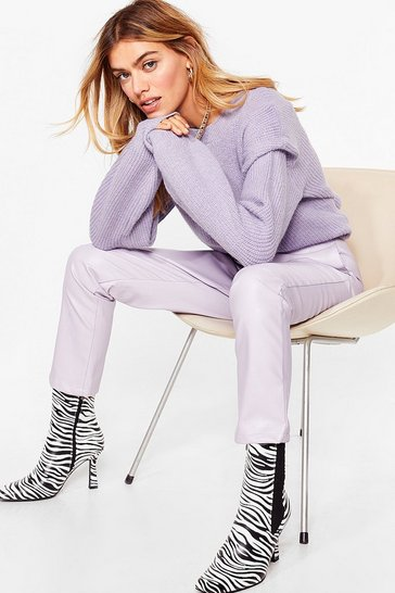 Lilac You're a Shoulder Pad Influence Knitted Sweater