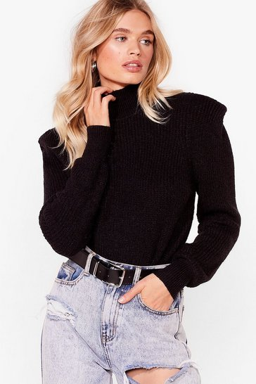 Black Shoulder Pad Girls Club Knitted Sweater