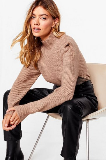 Camel Shoulder Pad Girls Club Knitted Sweater