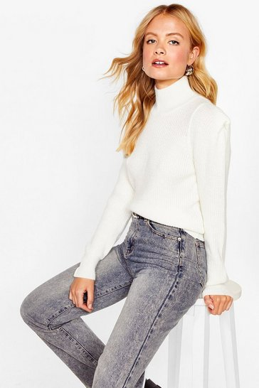 Ivory Shoulder Pad Girls Club Knitted Jumper