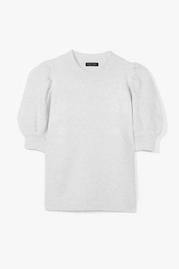 Grey Knit 'Em Up Puff Sleeve Sweater