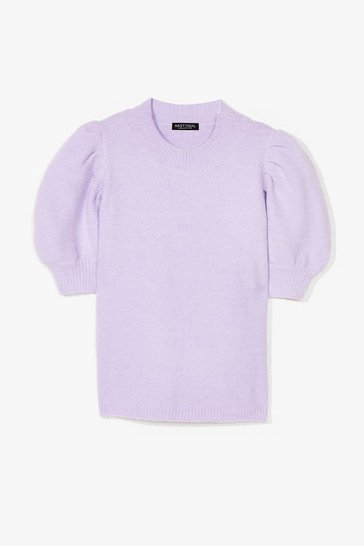 Lilac Knit 'Em Up Puff Sleeve Sweater