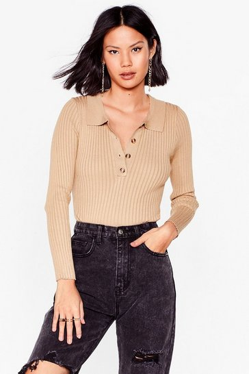Taupe Get to Knit Ribbed Cropped Sweater