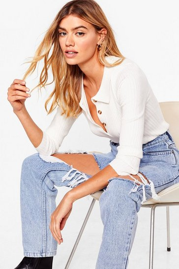 White Get to Knit Ribbed Cropped Sweater
