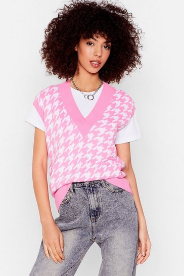 Hot pink Nowhere to Be Houndstooth Knitted Tank Top