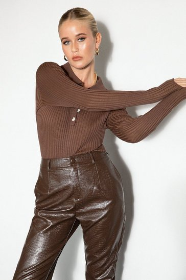 Chocolate Knit's About to Happen Ribbed High-Leg Bodysuit