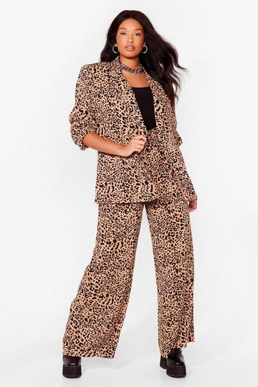 Brown Play the Wild Card Plus Leopard Trousers