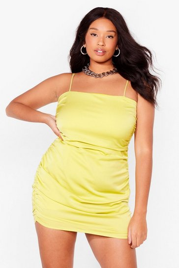 Lime Be There in a Mini Plus Ruched Dress