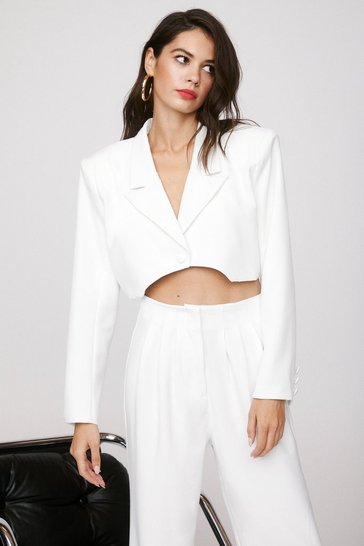 White Power Through Cropped Blazer