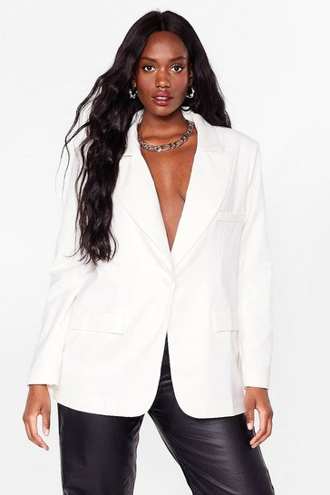 White Plus Size Shoulder Pad Blazer