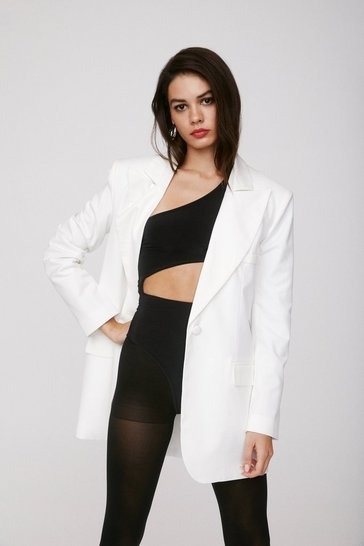 White The Power is Now Oversized Blazer